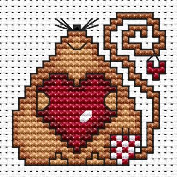 Patchwork Mouse Love Cross Stitch Card Kit